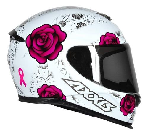 capacete feminino axxis mt eagle flowers branco