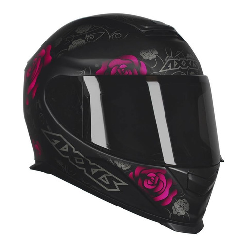 capacete feminino axxis mt eagle flowers fosco rosa