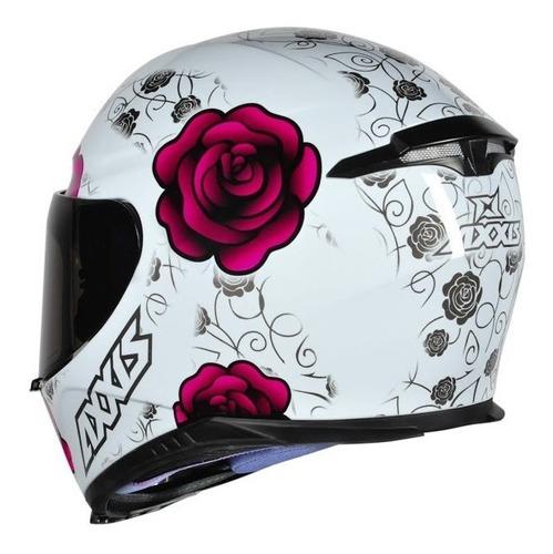 capacete feminino axxis mt flowers branco rosa pink