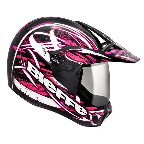 capacete feminino bieffe 3 sport reflex rosa grafite cross