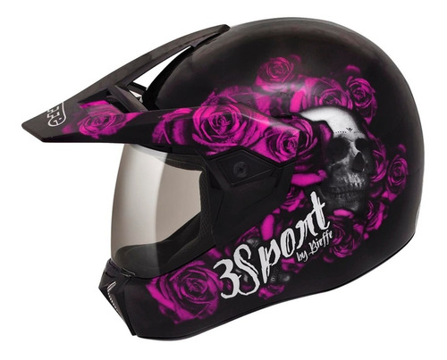 capacete feminino bieffe cross 3sport fortress enduro 3 em 1