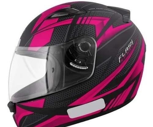 capacete feminino ebf new spark flash fechado preto com rosa