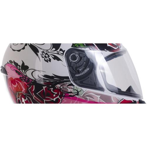 capacete feminino ebf rosas antialérgico branco fechado 60