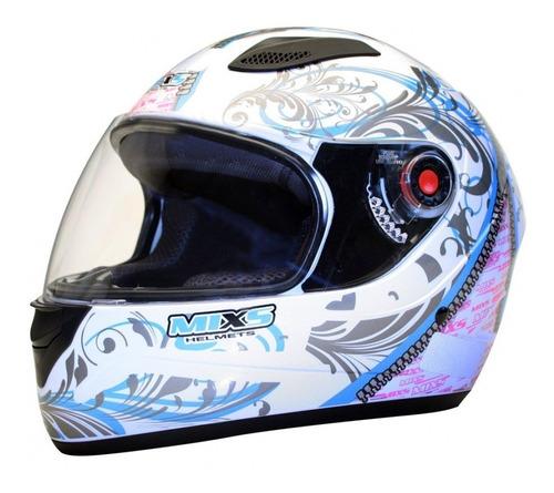 capacete feminino fokker branco azul + viseira fume extra