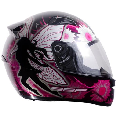 capacete feminino moto ebf fada fechado 58 preto casco alto