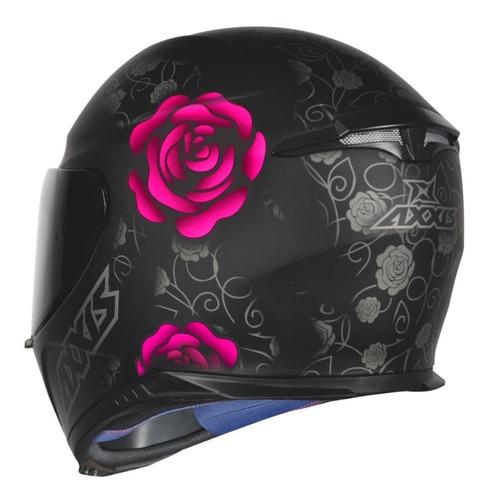 capacete feminino mt axxis preto rosa fosco