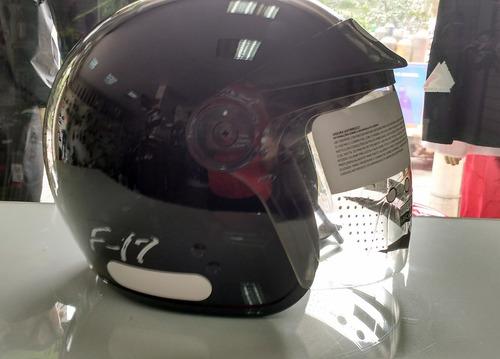 capacete fly f-17 / preto brilhante / peruzinho / aberto