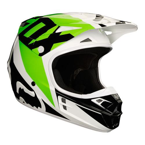 capacete fox v1 race 18 - branco/verde