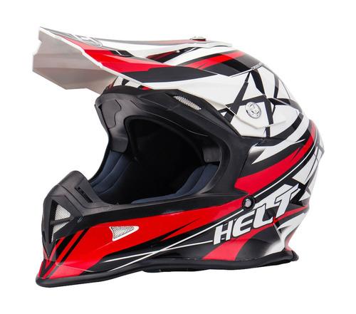 capacete helt cross mx racing vermelho/preto
