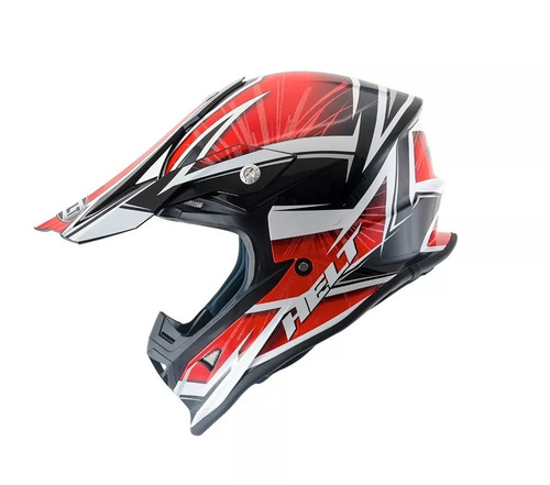 capacete helt cross mx rajado vermelho/preto