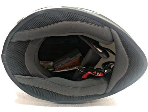 capacete helt polar azul - preto - branco com duas viseiras