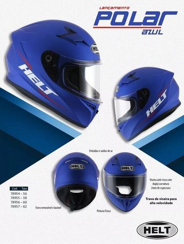 capacete helt polar com 1 viseira transparente e 1 cromada