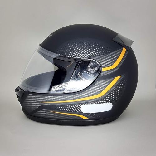 capacete honda fechado hfs wing preto fosco/laranja