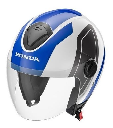 capacete honda original hnj 56 azul/branco