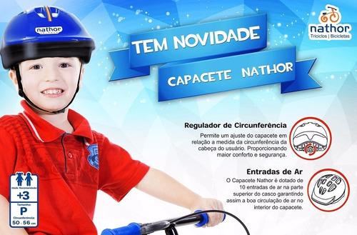 capacete infantil azul nathor tamanho 50 até 56