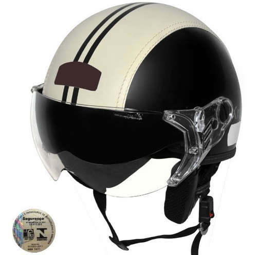 capacete kraft aberto preto semi revestido couro bege custom