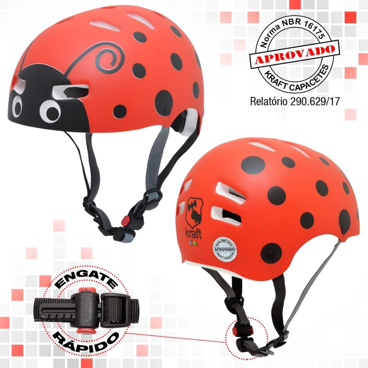 2535e700f5c Capacete Kraft Bike Skate Patins Joaninha - Frete Gratis - R  144