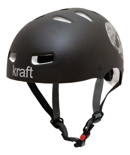 capacete kraft bike, skate, patins - original - black skull