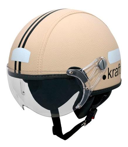 capacete kraft couro bege custom harley drag shadow vintage