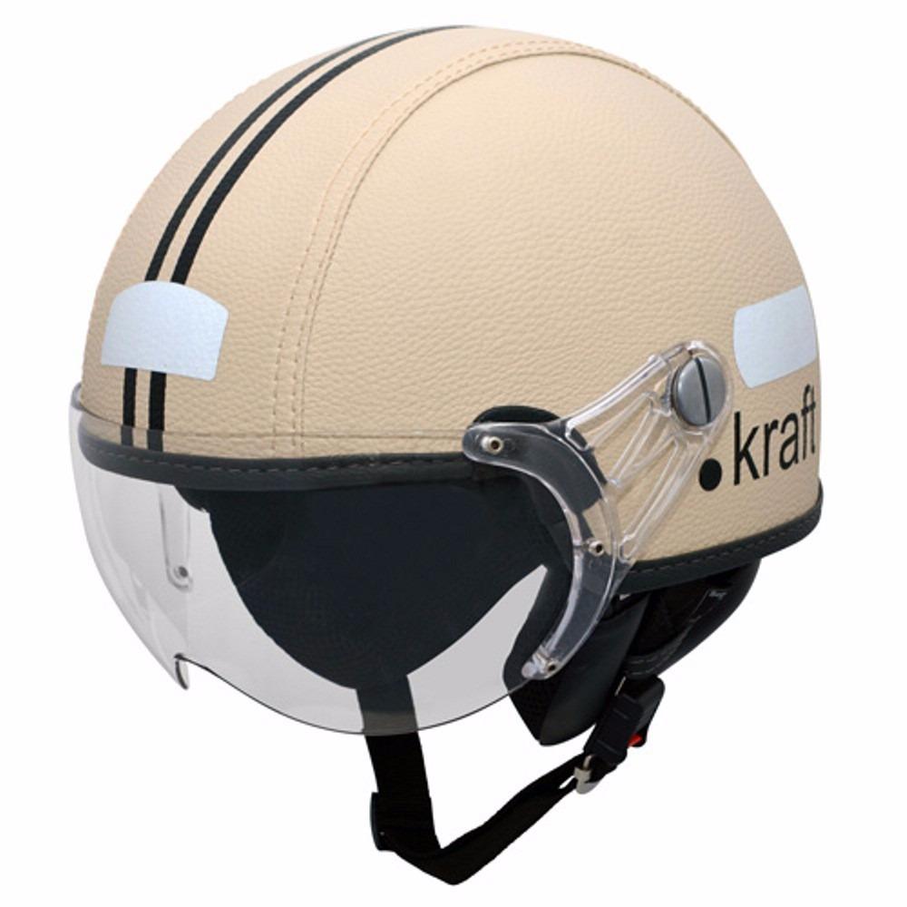 capacete kraft couro bege custom harley scooter drag. Carregando zoom. 449749b5e41
