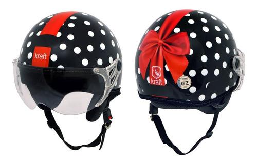 capacete kraft plus feminino laço preto g 58 - harley custom