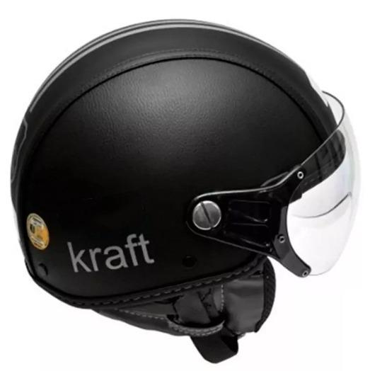Capacete Kraft Plus Revestido Couro Preto - Custom Harley - R  296 ... 34ef6ce1bfc