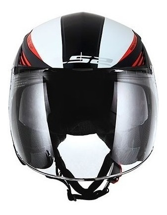 capacete ls2 aberto of586 bishop rising preto / vermelho