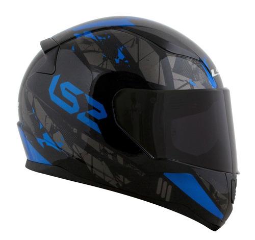 capacete ls2 ff353 rapid palimnesis preto azul top que ff358