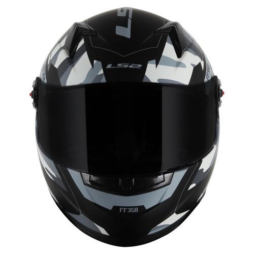 capacete ls2 ff358 tank preto branco fosco