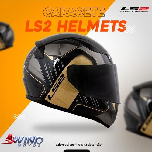 capacete ls2 preto e dourado