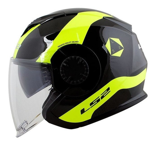 capacete ls2 verso technik preto/amarelo rs1