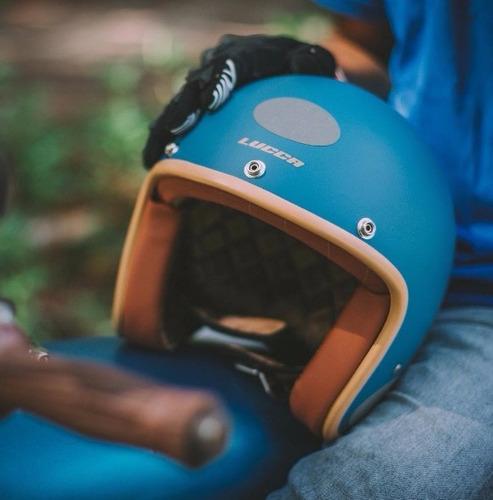 capacete lucca custom old school matt blue - full