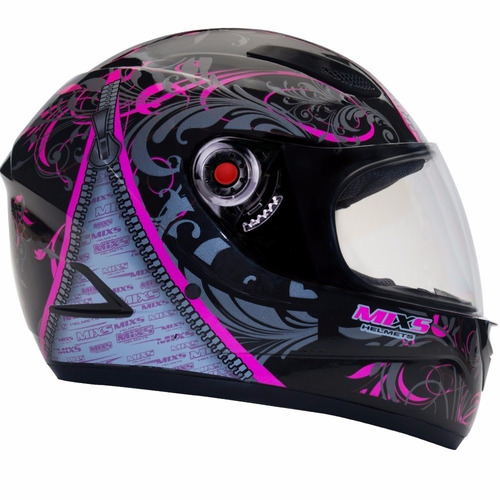 capacete mixs feminino preto com rosa somente 56 + brinde
