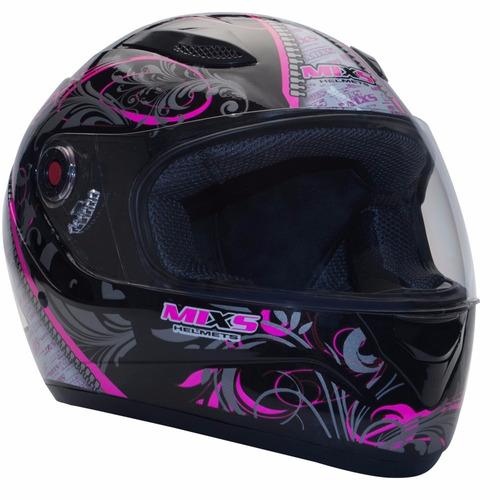 capacete mixs feminino preto rosa somente 56 58 60 + brinde
