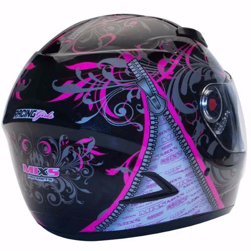 capacete mixs feminino preto rosa somente 56 58 + brinde