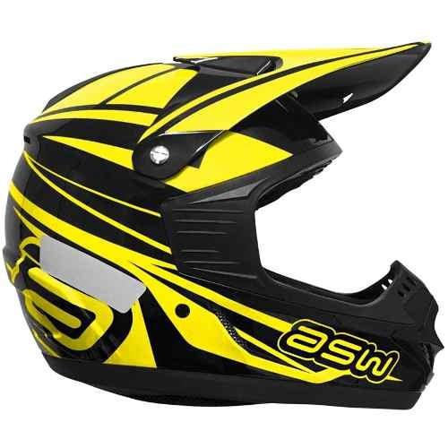 capacete moto asw factory 2016 off road - amarelo 62