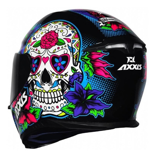 capacete moto axxis by mt skull caveira azul lançamento
