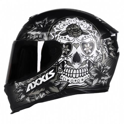 capacete moto axxis by mt skull caveira preto fosco