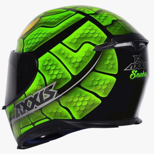 capacete moto axxis by mt snake preto verde serpente