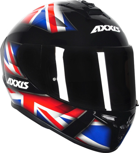 capacete moto axxis draken uk azul + viseira fume