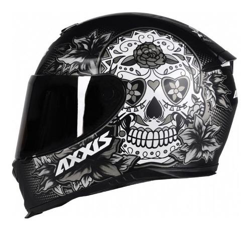 capacete moto axxis skull caveira fosco + viseira extra
