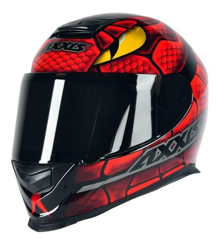 capacete moto axxis snake preto vermelho serpente by mt