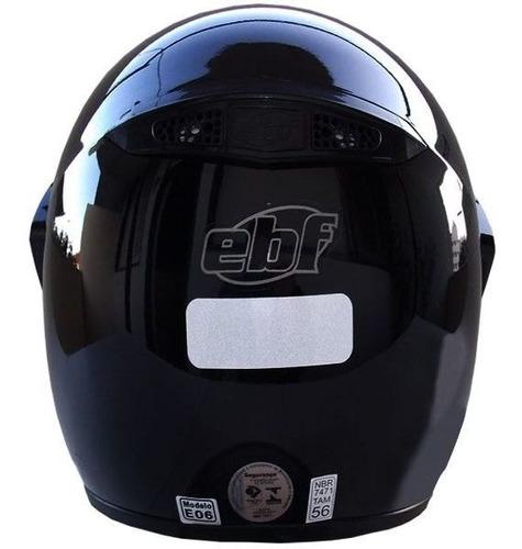 capacete moto ebf motard solid preto motocross off road + nf