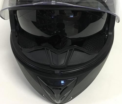 capacete moto ebf xtroy solid com óculos solar e narigueira
