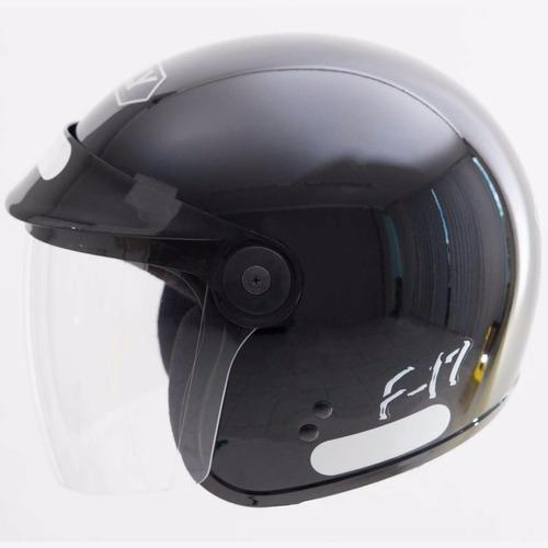 capacete moto f-17 preto peels fly aberto urbano custom