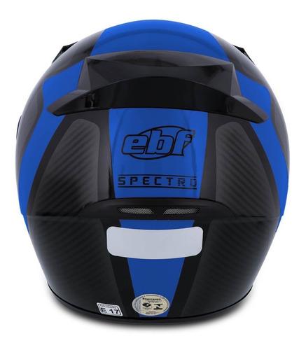 capacete moto fechado ebf e0x spectro preto brilhante e azul