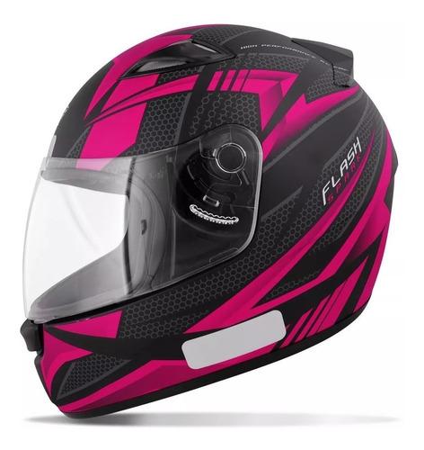 capacete moto feminino ebf new spark flash preto fosco rosa