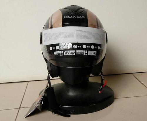 capacete moto honda hnj aberto preto/rose - edição deluxe