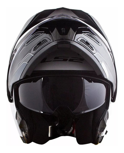 capacete moto ls2 ff324 bc pt articulado viseira solar