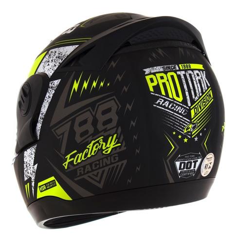 capacete moto masculino amarelo g6 factory racing pro tork
